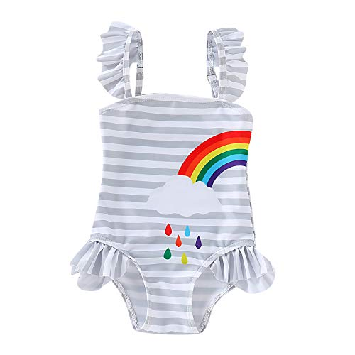 Baby Girls Sister Ruffle Stripe Swimsuit Twins Matching Swimwear Rainbow Print Bathing Suit Onesie (Left, 3-4 Years)