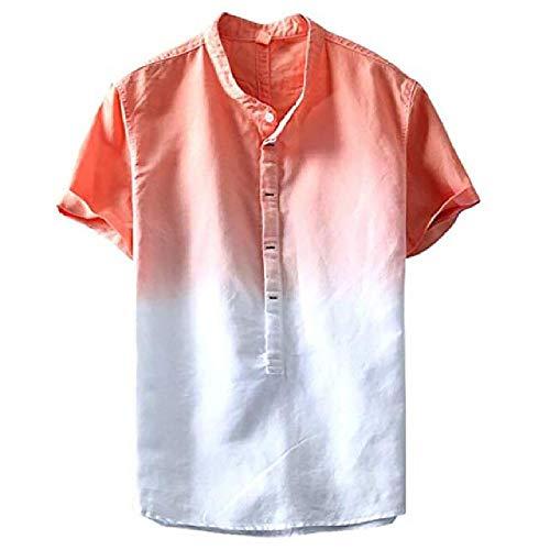 N\P Camisa de algodón degradado fresco y fino transpirable botón Stand Collar Tie-dye para hombres Jun