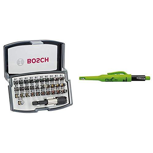 Bosch Professional 32tlg. Bit Set (Zubehör für Schraubanwendungen) & Pica Tieflochmarker Dry Longlife, langlebiger Marker mit Spitzer und Halteclip, Spezial-Graphitmine 2.8 mm ,grün, Art.-Nr. 3030.0