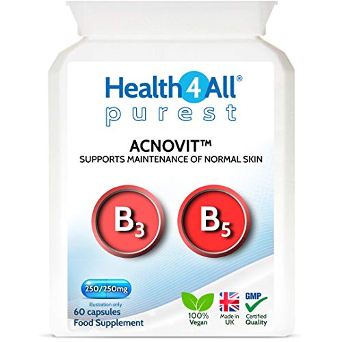 Acnovit Purest Skin Support 60 Capsules. Natural, Vegan Vitamin Supplement for Healthy Spotless Skin. Made in The UK by Health4All