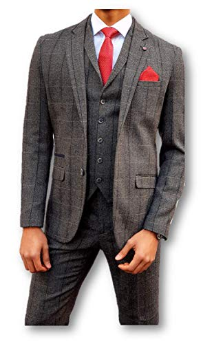Heren Tweed Peaky Blinders Stijl Grijs Check 3 Stuks Pak (UK