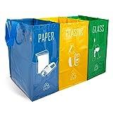 NORGGO Pack de 3 Bolsas Reciclaje Basura Colores | Contenedor Reciclaje para...