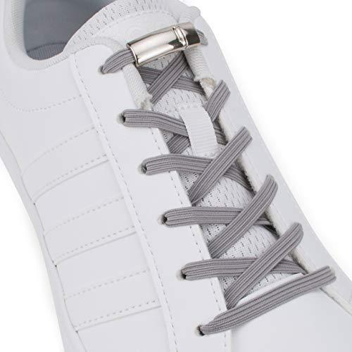 SULPO Cordones elásticos de goma con cierre magnético de metal – sin atar – Cordones de goma – Juego de cordones sin lazo – Cordones de goma para todos los zapatos Gris
