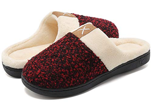 welltree Pantofole Camera da Letto Morbide Memory Foam Pantofole Calde da Bagno Invernali Antiscivolo Rosso 38/39