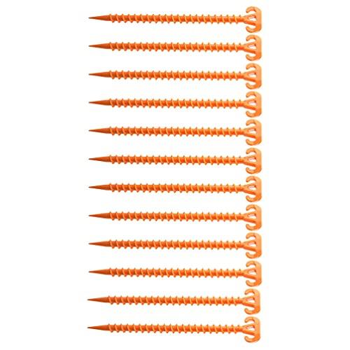 YARNOW 12 Piezas Anaranjado Canopy Estacas Carpa Estacas Tornillo Espiral Tienda de Campaña Estacas de Anclaje de Suelo de Gran Resistencia Tornillo Forma de Clavo de Anclaje para