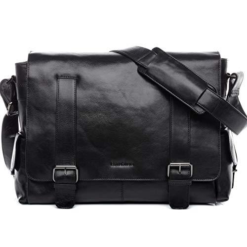 FEYNSINN Borsa messenger vera pelle ASHTON grande XL tracolla laptop porta pc 15' borsello a spalla Università Scuola Ufficio Lavoro Business 15,4 pollici uomo cuoio nero