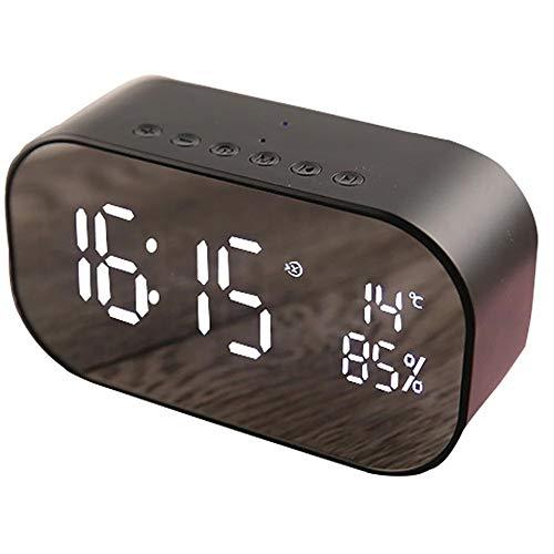 Digitale Wekker Met Bluetooth Speaker, Alarm Clock Radio Bluetooth Speaker Digital Bedside Klokken Met Dimbare LED-Display Dual Alarm FM-Radio AUX-IN
