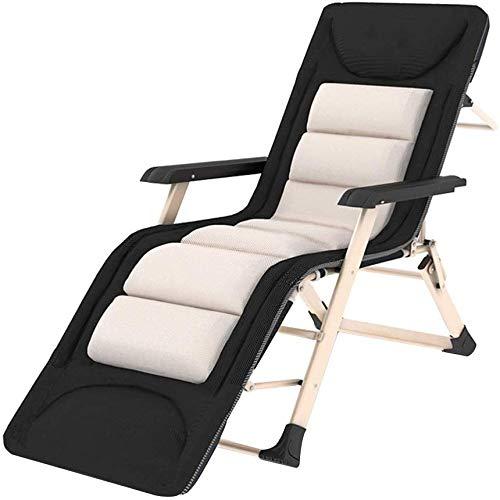 Tumbonas Jardin Plegable acolchada silla reclinable silla de cubierta Textilene jardín con reposacabezas extraíble, Oficina Relax Tumbona fuera Tomar el sol cama de playa Balcón (Altura, 178cm),,185cm