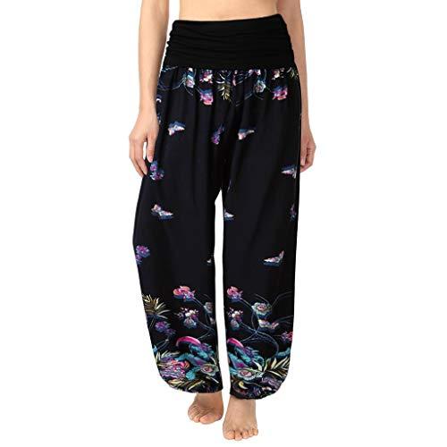Pantalon Fluide Femme Imprimé Florale Ryures Pants Éléphant Yoga Doux Casual Losse Pantalon Sarouel Aladin Jogging (L, D- Noir Florale)