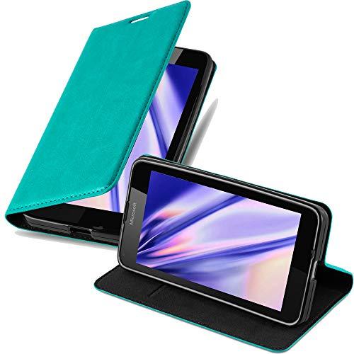 Cadorabo Hülle für Nokia Lumia 640 - Hülle in Petrol TÜRKIS – Handyhülle mit Magnetverschluss, Standfunktion und Kartenfach - Case Cover Schutzhülle Etui Tasche Book Klapp Style