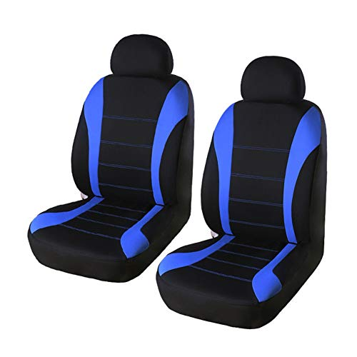 YIRU Trading Universal Fit 2 Front Car Seat Cover Set -100% Breathable Backed with 5mm Composite Sponge Inside, Airbag Compatible,for Sedan/SUV/Pick up Truck, Blue & Black
