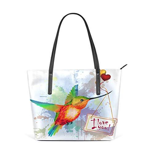 XGBags Custom Borsa a tracolla in pelle PU da donna Womens Purse Cute Hummingbird Love You PU Leather Shoulder Tote Bag