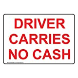 Driver Carries No Cash Label Decal, 7x5 in. Vinyl for Transportation by ComplianceSigns