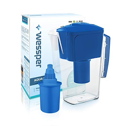 Wessper Jarra de filtrado de agua alcalina AQUApro (2.5L) con 1 cartucho...