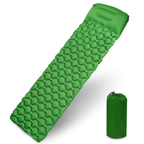 Karvipark Isomatte Camping mit Kopfkissen, Ultraleichte Luftmatratze Camping Kleines Packmaß, Schlafmatte Wasserdicht für Camping, Outdoor, Reise, Wandern, Strand (Gelb grün)