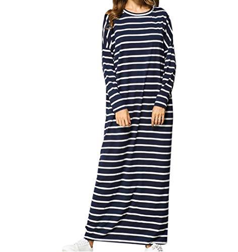 zhbotaolang Frauen Muslim Abaya Kaftan Robe - Damen Lange Ärmel Baumwolle Maxikleid Übergröße Dubai Party Kleid M