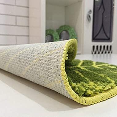DYHOZZ Carpet Bathroom Kitchen Water Absorption Non-Slip Banana Leaf Foot Pad Oval Shaped Green Leaves Bedside Carpet Living