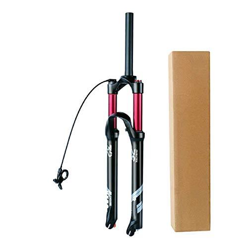 Horquilla MTB Remote Control 26 27,5 29' 1-1/8' Amortiguador Bicicleta Tubo Recto Horquillas Aire Bici Viaje 140mm (Color : Tapered Tube, Size : 27.5 Inch)