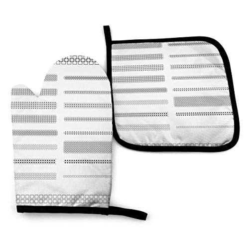 EOUNMSU Black White Small Square Divider Line Pattern Heat Resistant Oven Mitts and Pot Holders Sets Non-Slip Cooking Gloves Durable Kitchen Counter Safe Mats Excellent for Kitchens Grilling Campsite