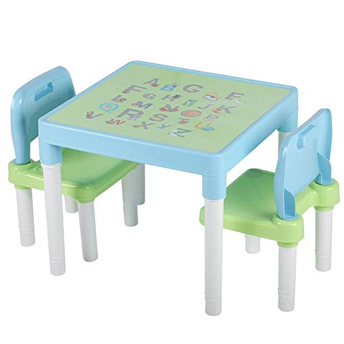 Yosooo Children Study Table and Chair Adjustable Height for Kids with Lamp US Plug (Blue)
