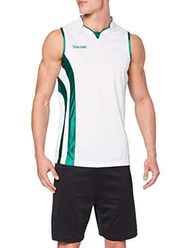 Spalding MVP Tank Top Camiseta De Equipaciones Manga Corta, Hombre, Blanco/Verde, S