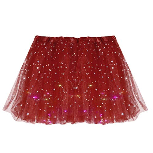FRAUIT Plissé tule rok LED rok dames meisjes sterren pailletten mesh tule jurk rok rijfrock avonddrok casual feestelijk carnaval party rok