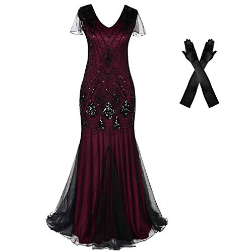 Women Evening Dress 1920s Flapper Cocktail Mermaid Plus Size Formal Gown with Long Gloves (L/US 14-16, Burgundy Black)