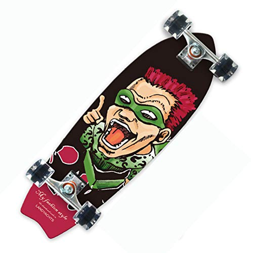 Nengge Skateboard van esdoorn in visvorm, longboard-verf met vier wielen, geschikt voor beginners jongens, meisjes, kinderen, volwassenen