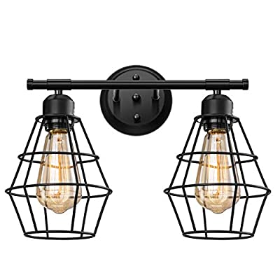 Elibbren Vintage 2-Lights Vanity Wall Sconce Lighting, Farmhouse Rustic Style E26 Base Metal Matte Black Industrial Bathroom Wall Light Fixture for Bathroom Vanity Mirror Cabinets Dressing Table