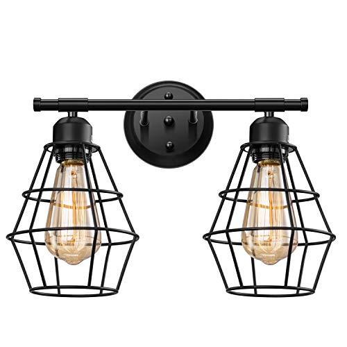 Elibbren Vintage 2-Lights Vanity Wall Sconce Lighting, Farmhouse Rustic Style E26 Base -