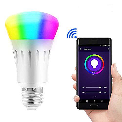 Lvgoo WiFi intelligente lampadina LED, funziona con Amazon Echo ALEXA, smartphone telecomando senza fili, dimmerabile multicolore colore, non richiede Hub, W equivalente