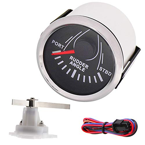 52MM Rudder Angle Indicator Gauge 0-190 ohm Waterproof with Angle Sensor Backlight for Yacht Marine Boat Rudder Indicator (Shipped from US Warehouse)