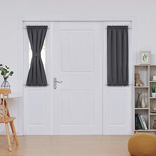Deconovo Door Curtain Panels Dual Rod Pocket Curtain Thermal Insulated Blacktout Curtain for 25x40 Inch Dark Grey 1 Panel