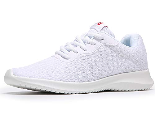 MAITRIP Walking Shoes for Women White Running Tennis Non Slip Work Gym Athletic Flats Comfortable Casual Summer Cool Knit Fashion Sneakers Size 9.5