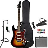 Sawtooth Sunburst Electric Guitar with Tortoise Pickguard - Includes Accessories, Amp, Gig Bag and Online Lesson