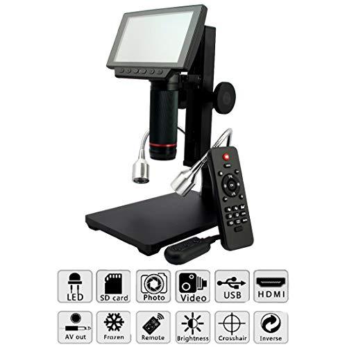 LLC - Magnifiers Microscopio Digital con Control Remoto LCD 1080P de 5 Pulgadas Aumento de hasta 560x con Soporte de Metal, cámara de Salida USB/HDMI/AV Grabadora de Video para Windows XP / 7/8/10