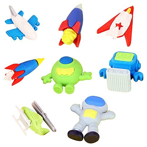 Hrbtag Gomas de Borrar Cute, 16 Piezas Gomas de Borrar con Formas Avión espacial Borradores de Lápiz Modelo de Juguete para...