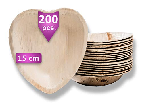 Waipur Platos Hoja de Palma Orgánicos – 200 Platos Biodegradables Desechables en Forma de Corazón – 15 cm – Vajilla Ecológica Premium, Estable, Natural y Compostable – como Platos Bambú