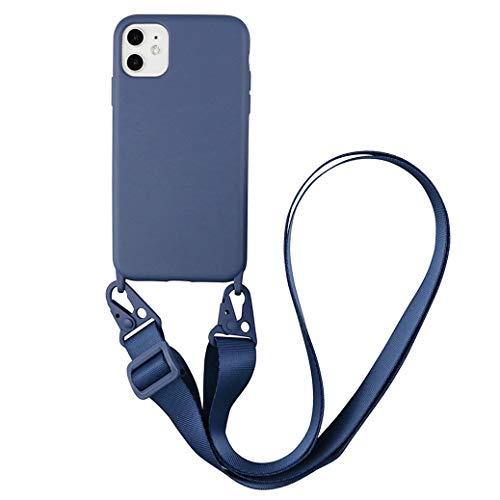 Jacyren Hülle iPhone 12 Handyhülle iPhone 12 Schutzhülle Handykette Necklace(abnehmbar) Hülle,iPhone 12 Schutzhülle Silikon Lanyard Telefonkasten für iPhone 12 (iPhone 12 6,1 Zoll, Grau)