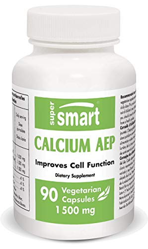 Supersmart - Calcium AEP 1500 mg Por Día – Suplemento de Minerales & Antinflamatorio – Ayuda a Mejorar Funciones Celulares   No OMG – 90 Cápsulas Vegetarianas