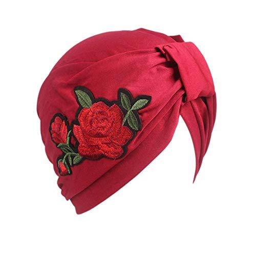 MOMIN Turban Beanie Hat Rosa Bordado de enfundado Polyester Cap Cap Informal Capucha Hood Impreso Damas Gorras del sueño del Beanie (Color : Red)