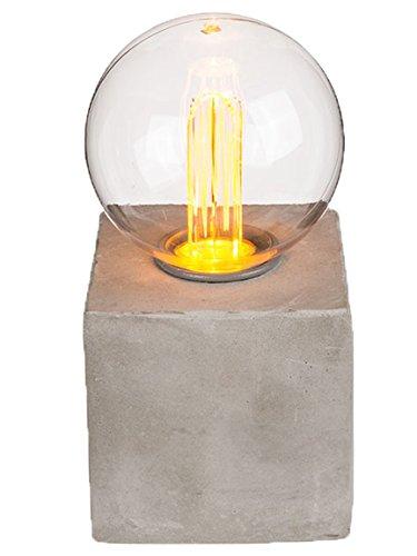 Bada Bing LED Tischleuchte mit Betonfuß Glühbirne Warmweiß Batteriebetrieb Leuchte Lampe Trend Deko 90 (Variante III)