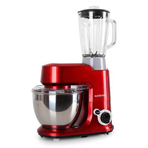 Klarstein Carina Rossa Set Robot de cocina multifunción con batidora de vaso de 1,5L (800W, 4 L, 6 niveles, monta claras, amasadora, mezcladora, tapa extraible, seguridad) Rojo