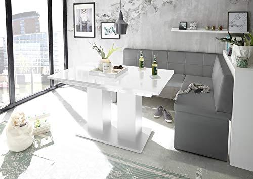 Reboz hoekbankgroep grijs hoekbank eettafel wit kunstleer 142 x 196 cm hoogglans 196 x 142 cm rechts grijs