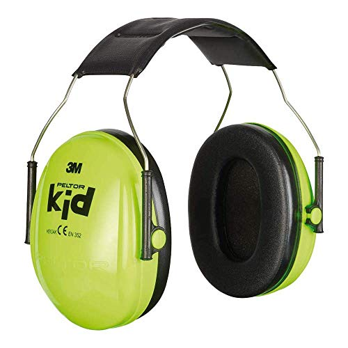 3M Peltor Kid Earmuffs with Headband, 27 dB, Neon Green – Ear defender with comfortable wear for children - 1x Ear Protector in neon green