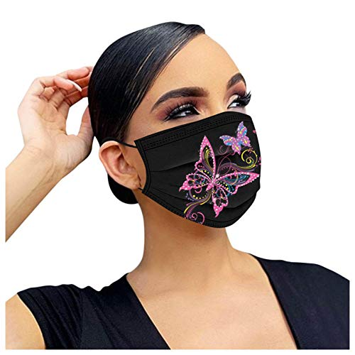 Black Disposable Face_Masks for Women, Butterfly Printed 3-Layers_Mask with Nose Bridge Strip, High Filtration Safety Protection, 10Pcs, 0220, 16