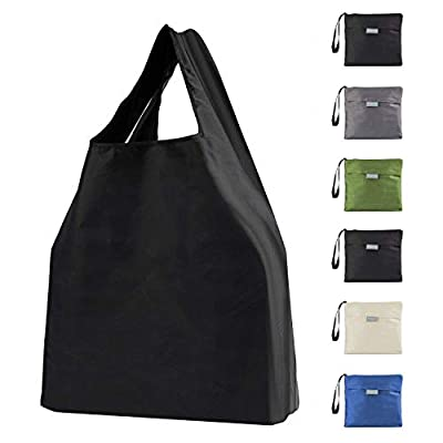 Moonflor 6 Pack Reusable Grocery Bags Foldable Tote Shopping Bags with Pouch Bulk Ripstop Polyester Eco-Friendly Bags Washable Durable