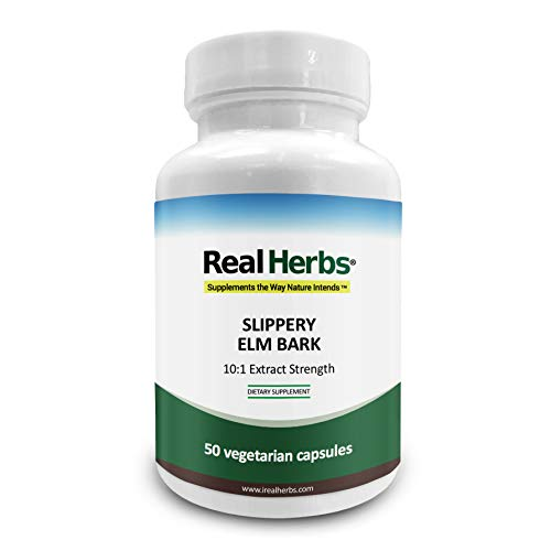 Real Herbs Slippery Elm Bark Extract-Derived from 7000mg of Slippery Elm Bark with 10:1 Extract Strength- Soothes Soreness of Mucous Membranes, Antioxidant Skin Health Support–50 Vegetarian Capsules