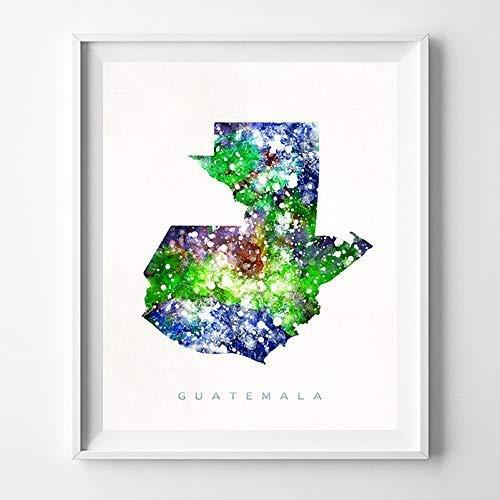 Guatemala Watercolor Map Wall Art Poster Home Decor Print Watercolour Artwork - Unframed