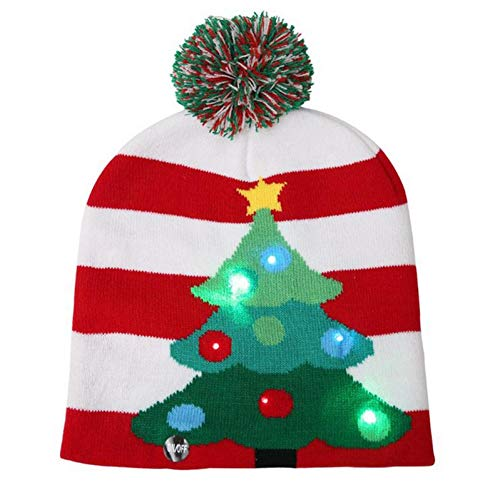 YOUGANT Kerstmuts volwassenen kinderen Kerstmis Led licht gebreide muts Gebreide muts Party kleurrijk licht volwassenen kinderen Warme muts D